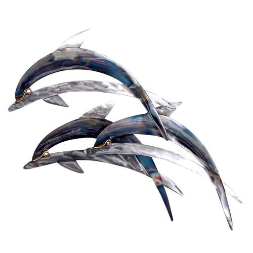 Three Blue Dolphins Wall Art