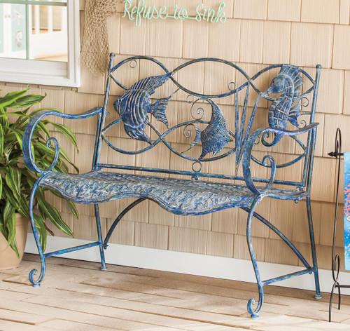 Three Blue Fish Bench