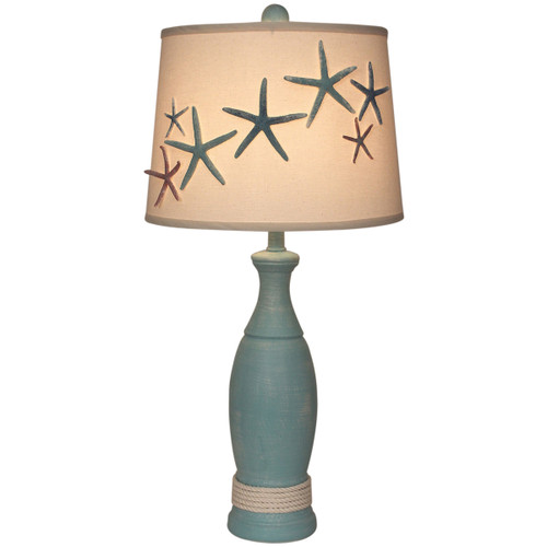 Turquoise Starfish and White Rope Table Lamp