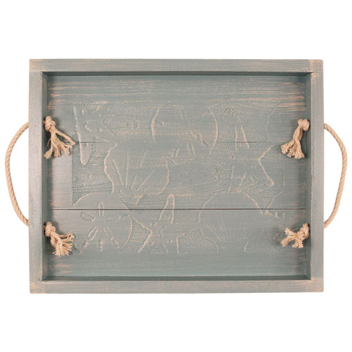 Weathered Gray Shells Wood Tray with Rope Handles