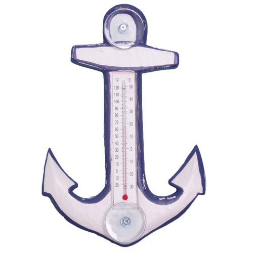 White & Blue Anchor Small Window Thermometer