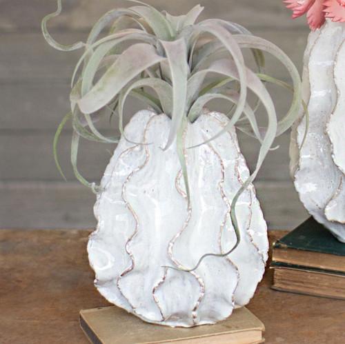 White Rippled Vase - Small