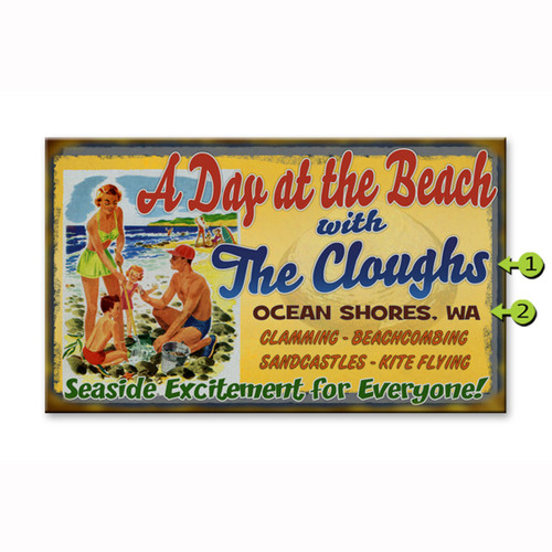 A Day at the Beach Name Personalized Signs