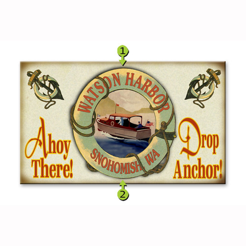Ahoy There Drop Anchor Motorboat Personalized Sign
