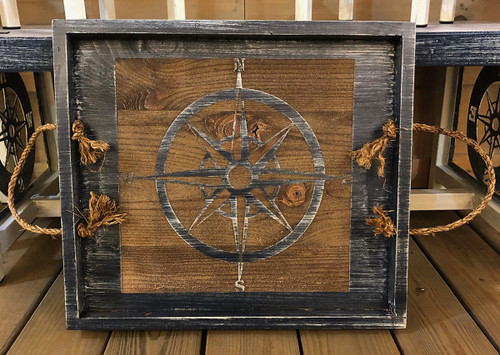 Navy Compass Rose Tray with Rope Handles