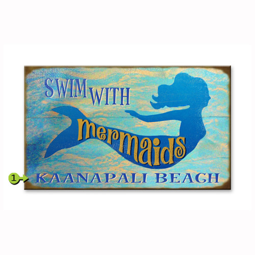 Swim with Mermaids Personalized Signs