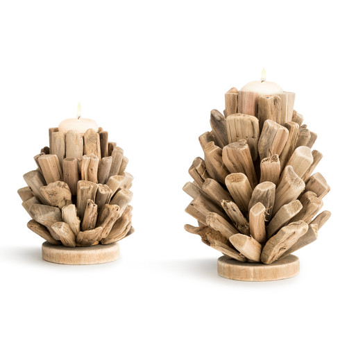 Driftwood Stack Candle Holders - Set of 2