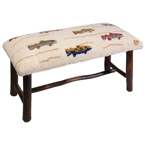 Trout Stream Hooked Wool Bench