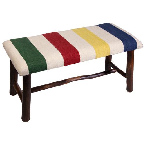 Beach Stripe Hooked Wool Bench