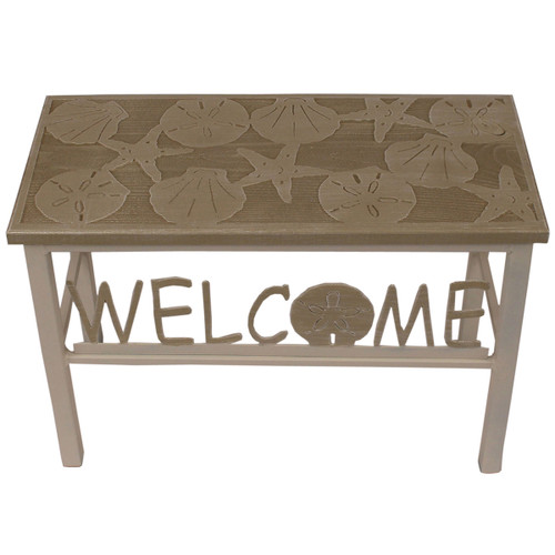 Agave Wood Welcome Bench with Sand Dollar Accent