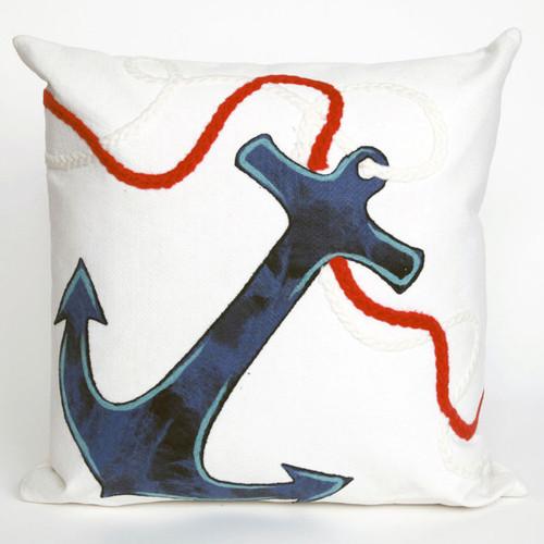 Anchor White Pillow - 20 x 20