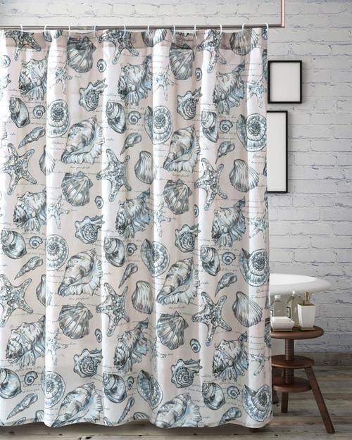 Antilles Shells Linen Shower Curtain