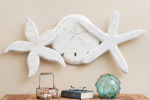 Antique Sand Dollar and Starfish Wall Hanging