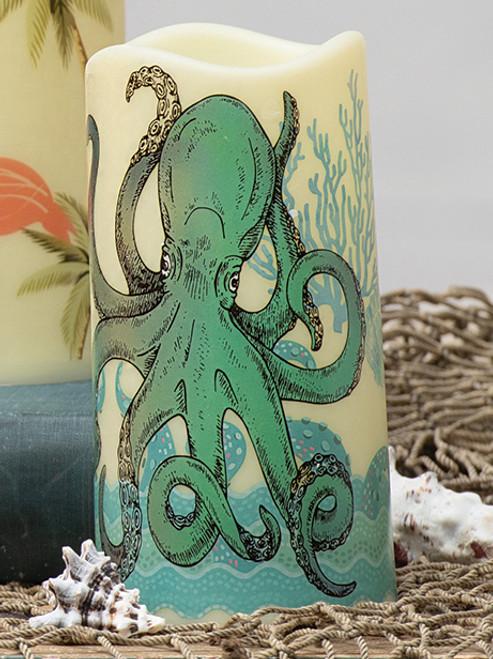 Aqua Octopus LED Candle
