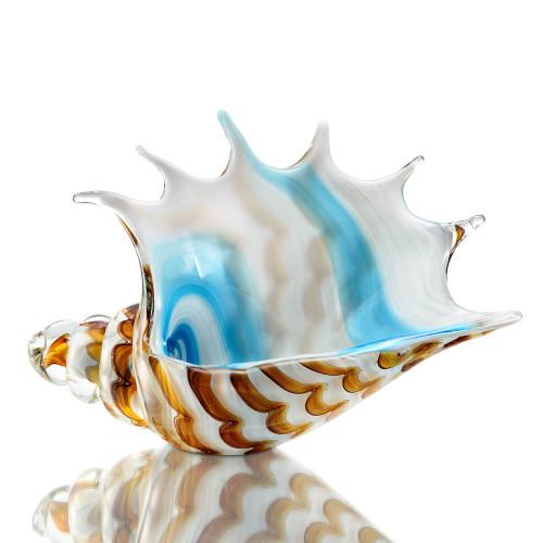 Art Glass Striped Conch Shell