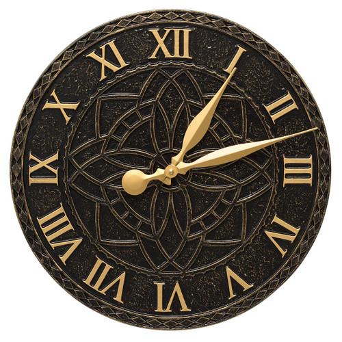 Artisan Flower Indoor/Outdoor Wall Clock - Black & Gold