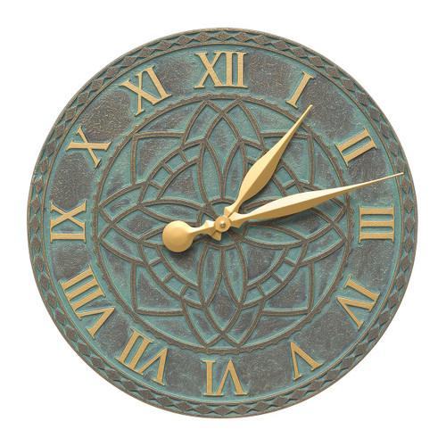 Artisan Flower Indoor/Outdoor Wall Clock - Bronze Verdigris
