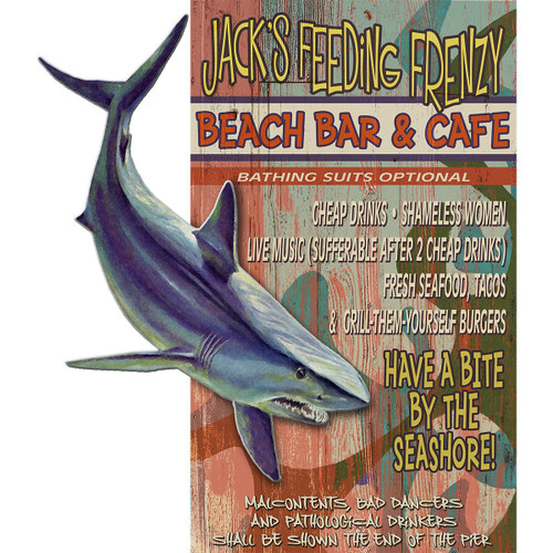 Bar & Cafe Shark Personalized Wood Sign - 28 x 48