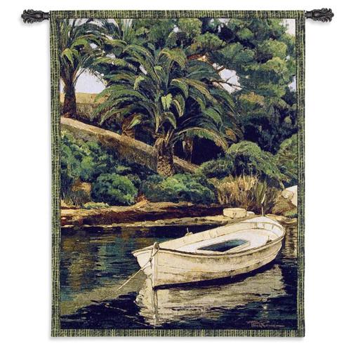 Barca y Palmeras Wall Tapestry