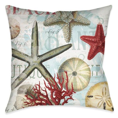 Beach Starfish 18 x 18 Outdoor Pillow