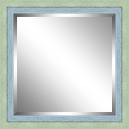 Beveled Green and Sky Blue Framed Mirror