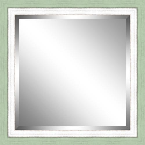 Beveled Green and White Framed Mirror