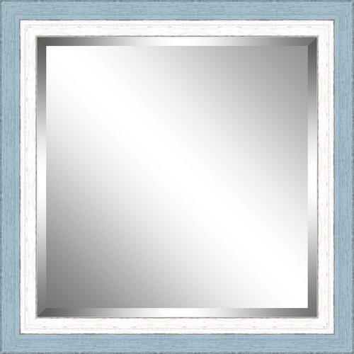 Beveled Sky Blue and White Framed Mirror