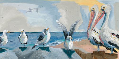 Bird Beach Canvas Wall Art