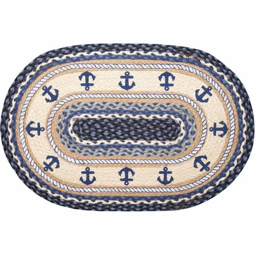 Blue Anchors Braided Rug - 2 x 3