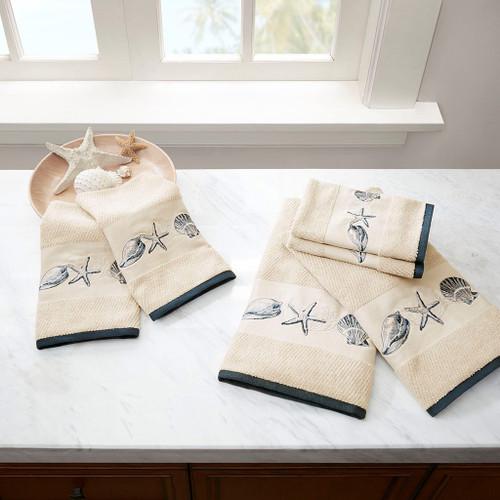 Blue Beach Embroidered Cotton Jacquard 6 Piece Towel Set