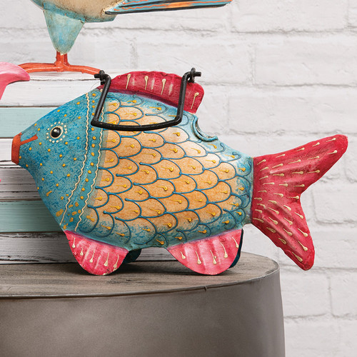 Blue Fish Watering Can