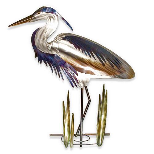 Blue Heron Head Down Wall Art - Left Facing
