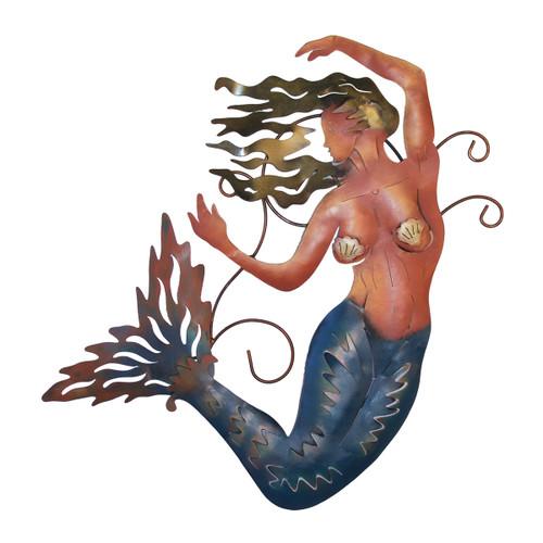 Blue Mermaid Metal Wall Art - Left Facing