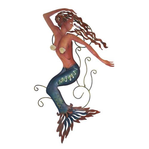 Blue Mermaid Metal Wall Art - Right Facing