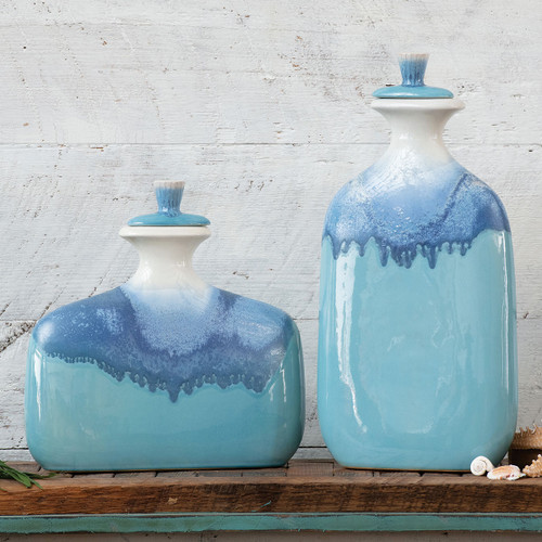 Blue Ombre Ceramic Jars with Lids - Set of 2