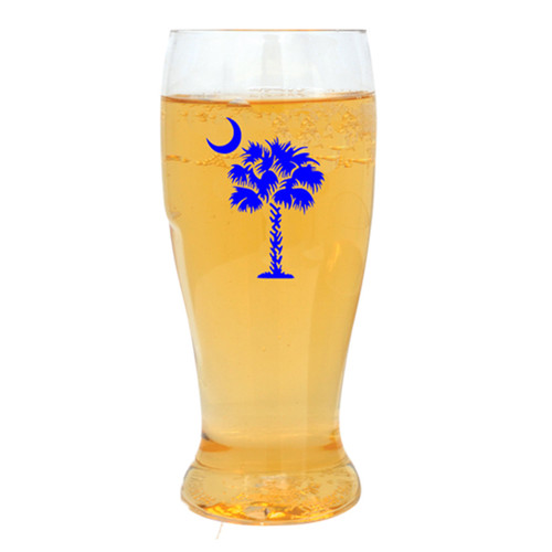 Blue Palm and Moon Beer Tumblers - Set of 4