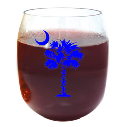 Blue Palm and Moon Wine Tumblers - Set of 4
