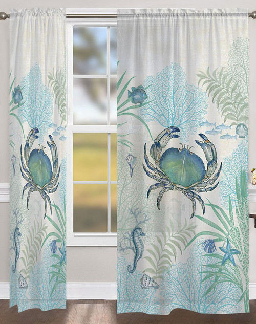 Blue Sea Life Sheer Window Panel