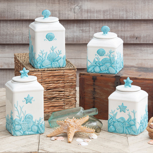 Blue Shells Ceramic Canisters - Set of 4
