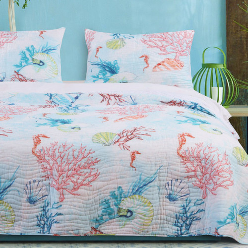 Bright Coral Reef 3 Piece Quilt Set - Full/Queen