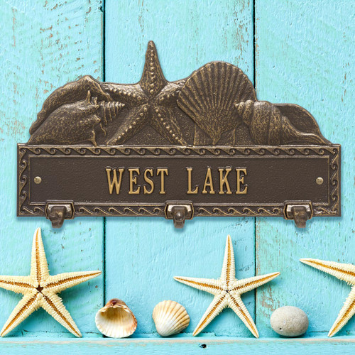 Bronze and Gold Personalized Sea Shell Hook Plaque