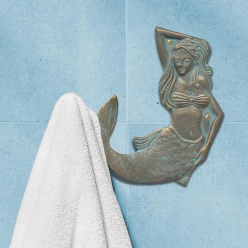 Bronze Verdigris Mermaid Towel Hook - Left Facing