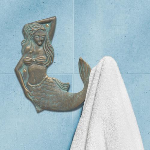 Bronze Verdigris Mermaid Towel Hook - Right Facing