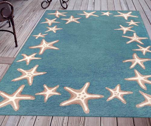 Carolina Starfish Aqua Indoor/Outdoor Rug - 8 x 10