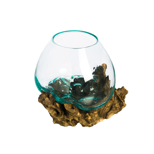 Clear Glass Votive on Driftwood Stand