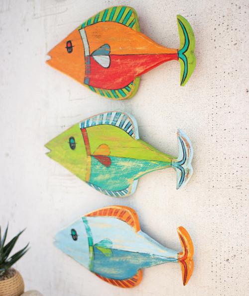 Colorful Fish Wood Wall Art - Set of 3