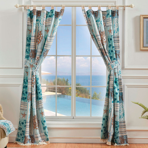 Coral Patches Lined Drapes