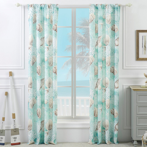 Coral Seas Lined Drapes