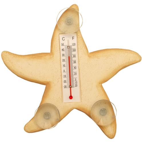 Cream Starfish Small Window Thermometer