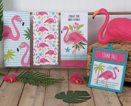 Flamingo Palms Towels & Oven Mitt